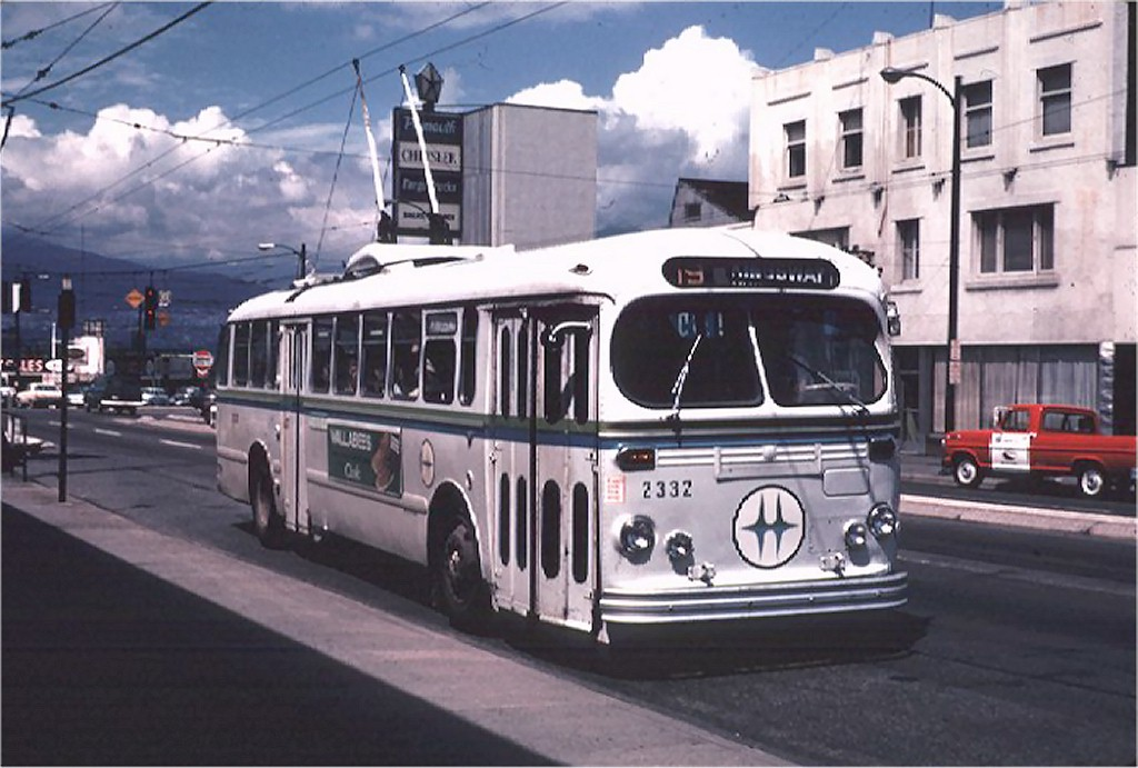 BC Hydro 2332 on route 19 at Main and Broadway July 1970