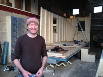A very happy Stephen at the end of BUILD DAY TWO. A third of the walls are up.