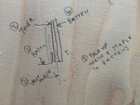 Mike's instructions for what order to add the TYVEK HOUSEWRAP, battens, vent mesh and cedar cladding