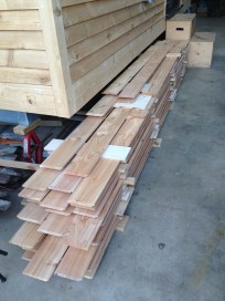 Cedar cladding for ceiling waiting for sanding and filling