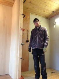 Daniel finishes bending the ply wall