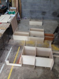 Kitchen units almost ready for assembly