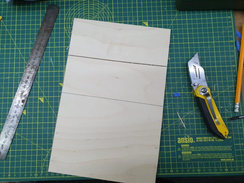 Ply sheet marked equally to the size required, I choose to be just above the original boarders.