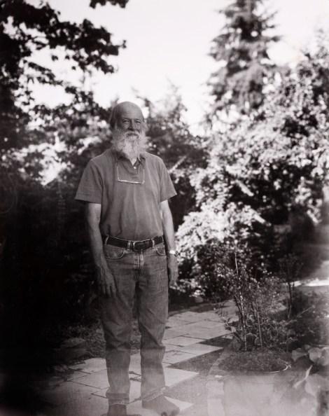 Artist Bill Moore outside his wood shop in Portland, Oregon.