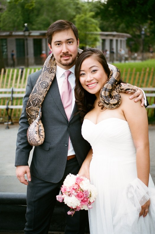 Washington square park wedding portrait with snake