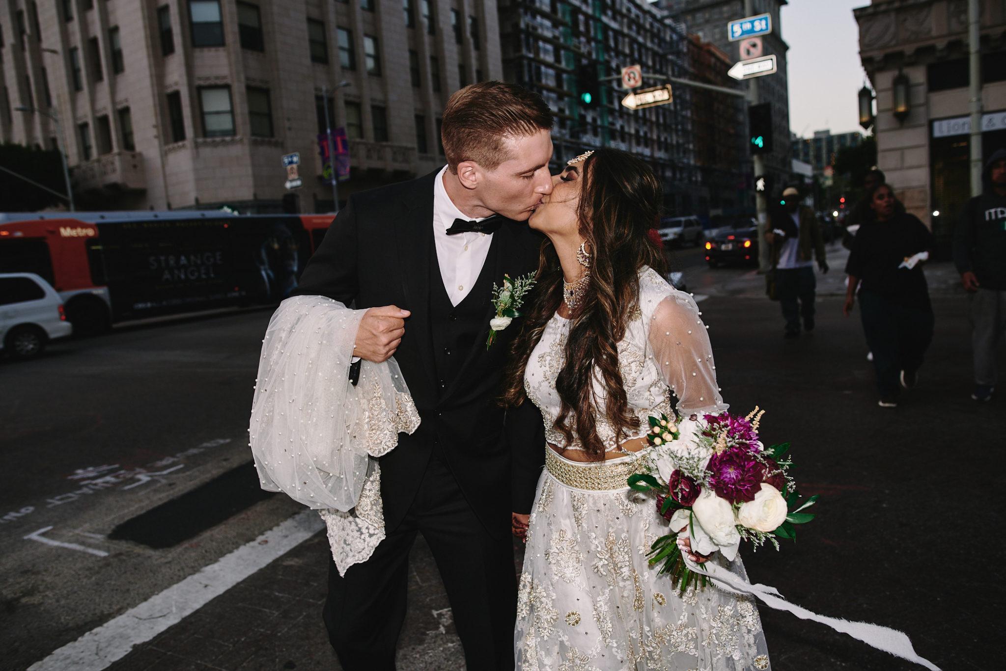 Bride and groom downtown LA night