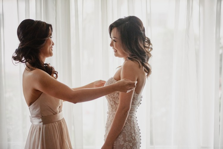 wedding bride and maid of honor