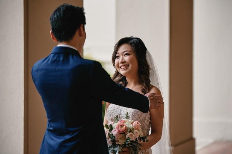 wedding first look pasadena city hall