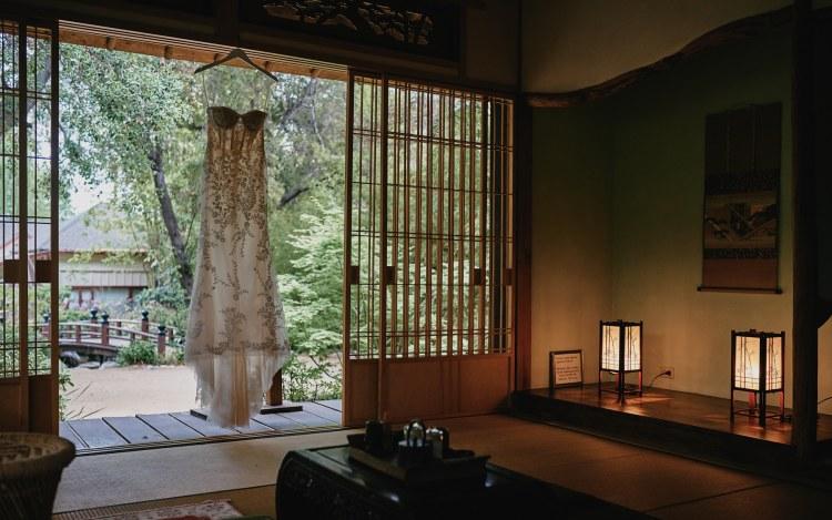 wedding dress storrier stearns japanese garden pasadena