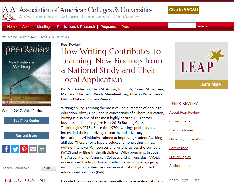 Screenshot of the research article from AACU.org
