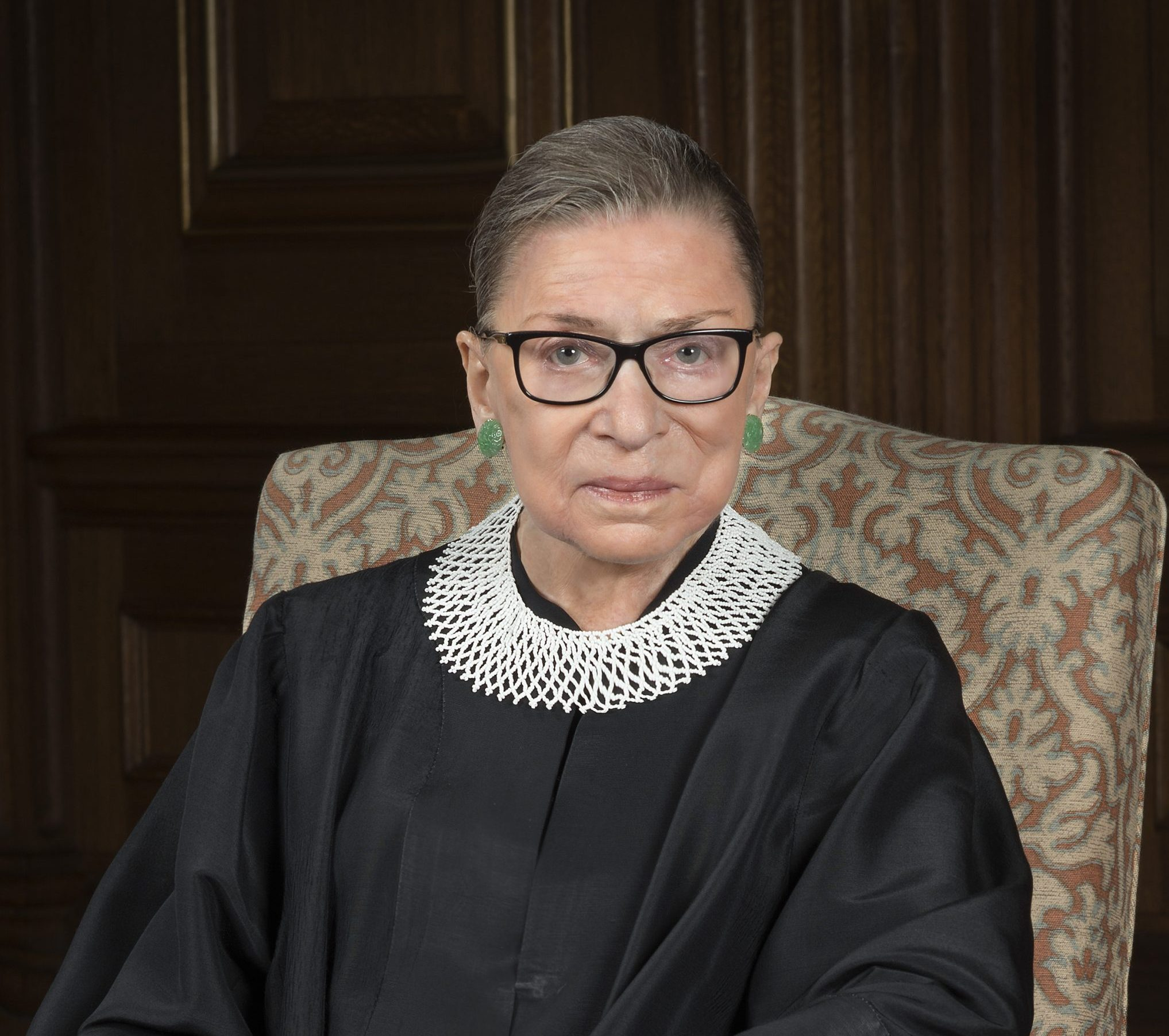 Ginsburg seated in her robe, Supreme Court official portrait 2016