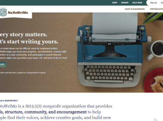 NaNoWriMo.org home page