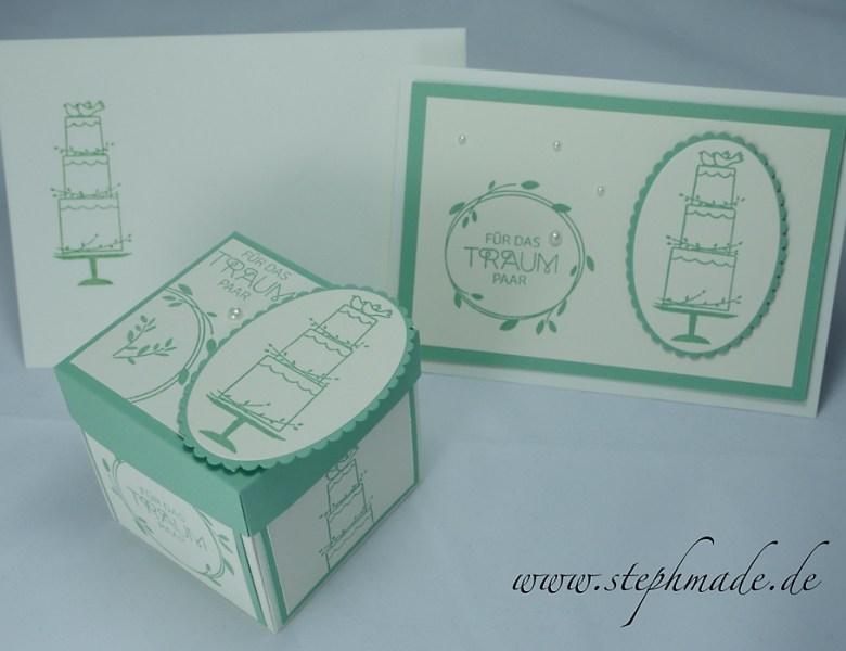 Explosionsbox und zugehörige Glückwunschkarte für eine Hochzeit von zwei Volleyballern :)
