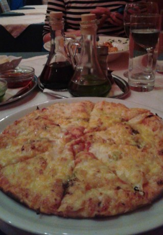 Thin-crust pizza at Piccolo Mondo. It was so good, Bob ordered it two nights in a row.
