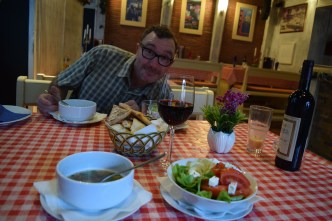 We ordered an amazing meal of soup, salad and fresh fish.