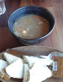 Lamb soup for lunch.