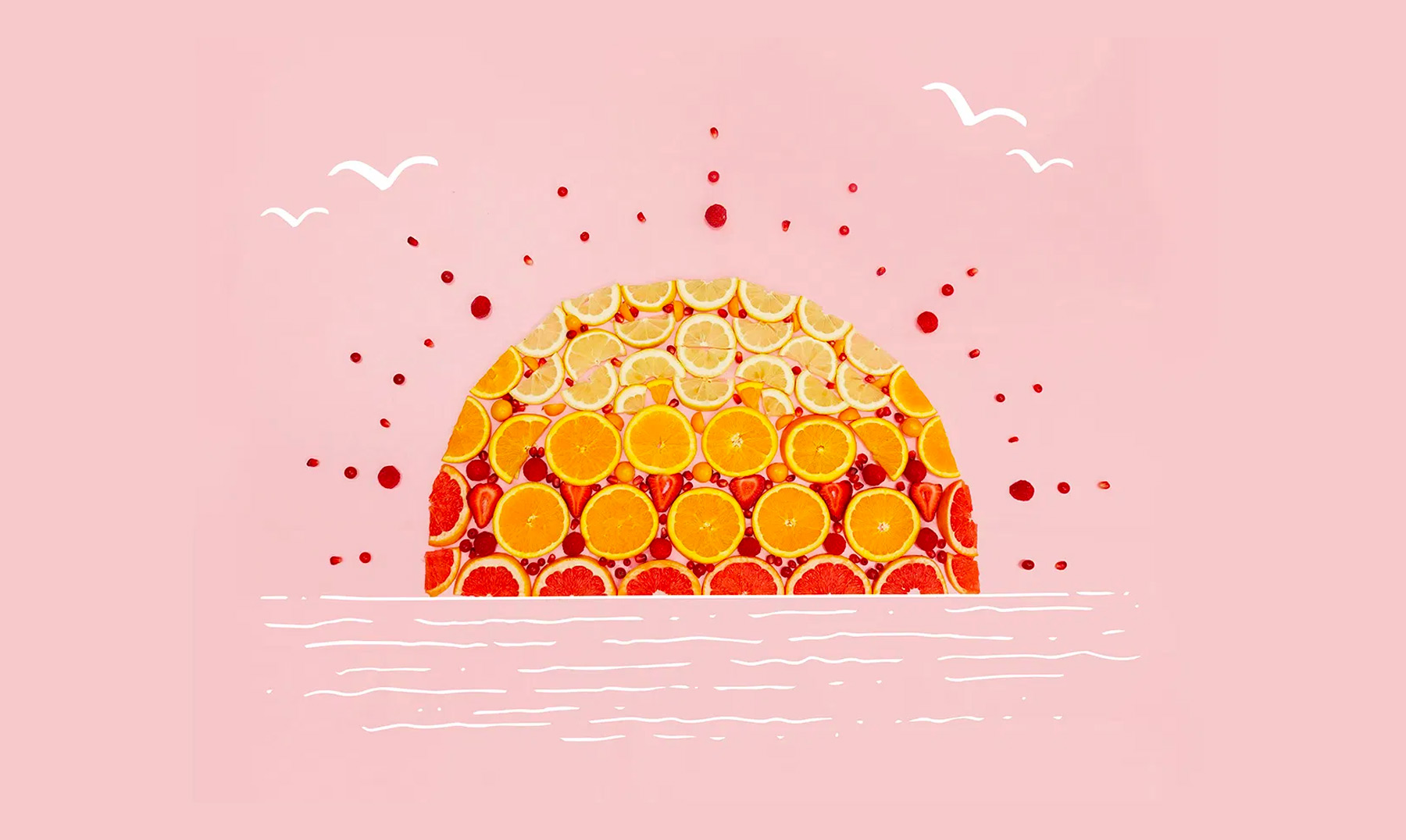 Sunset made of fruit