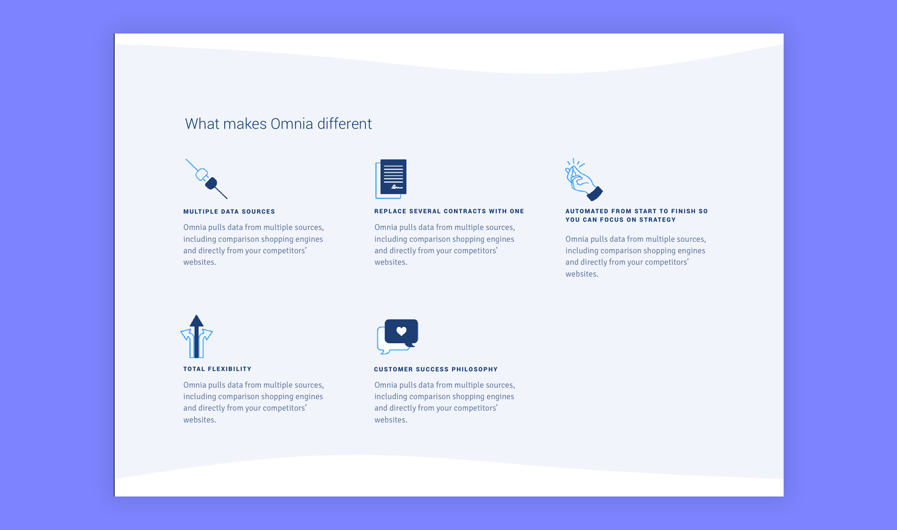 Omnia Retail icons on website