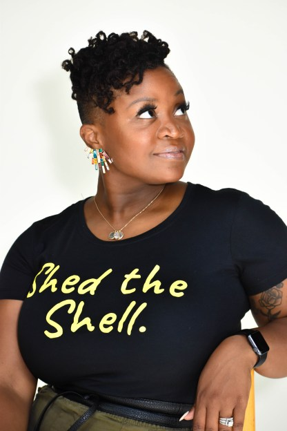 Andrea St. Louis in Shed the Shell T-shirt