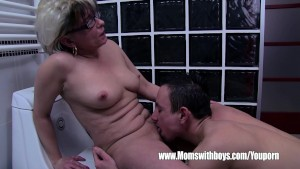 Grey Haired Stepmom Fucks Her Bathroom Jerking