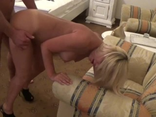 After diner Stepmom teaches Stepson to fuck