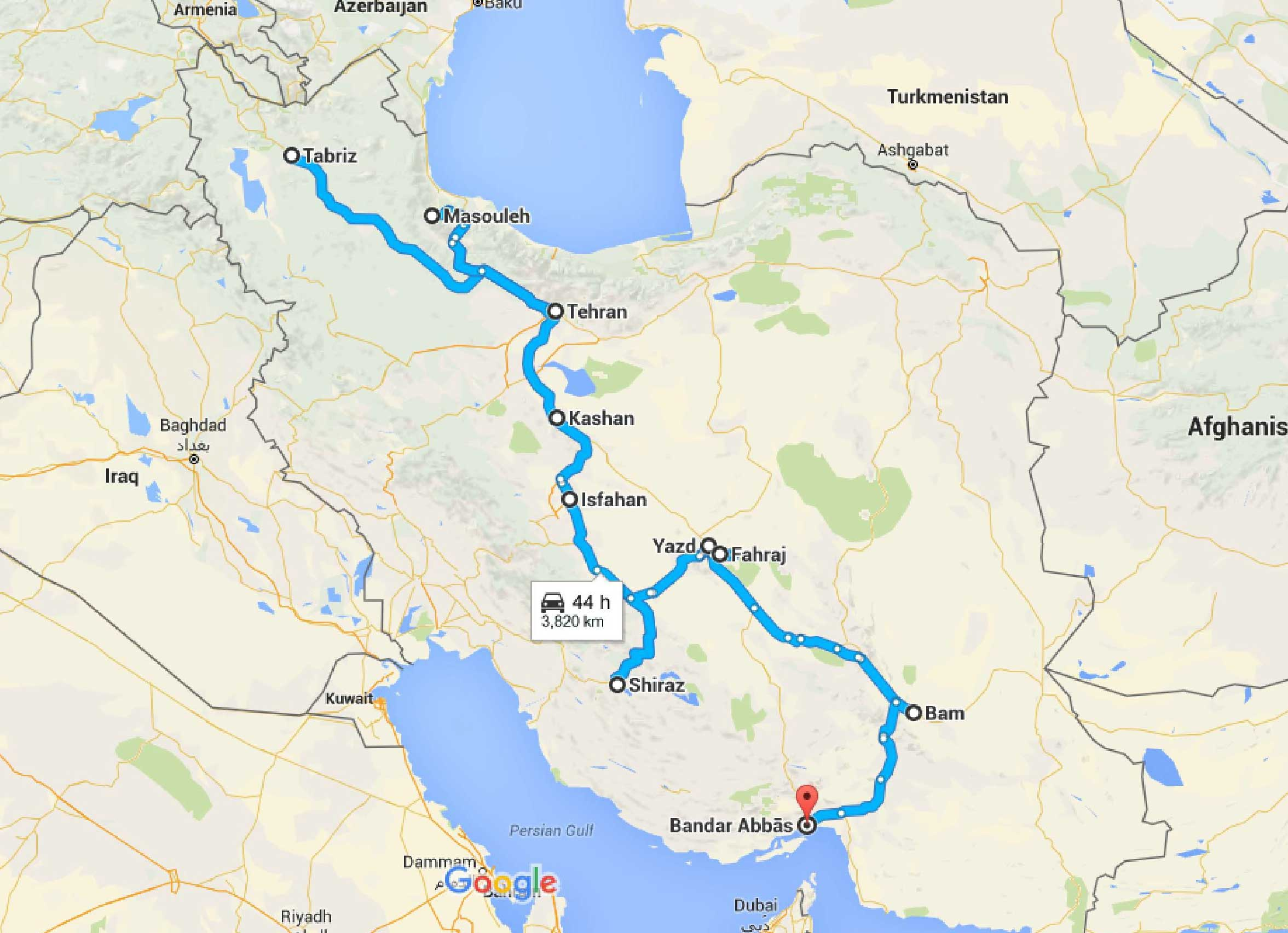 30 days in Iran: map, costs and itinerary