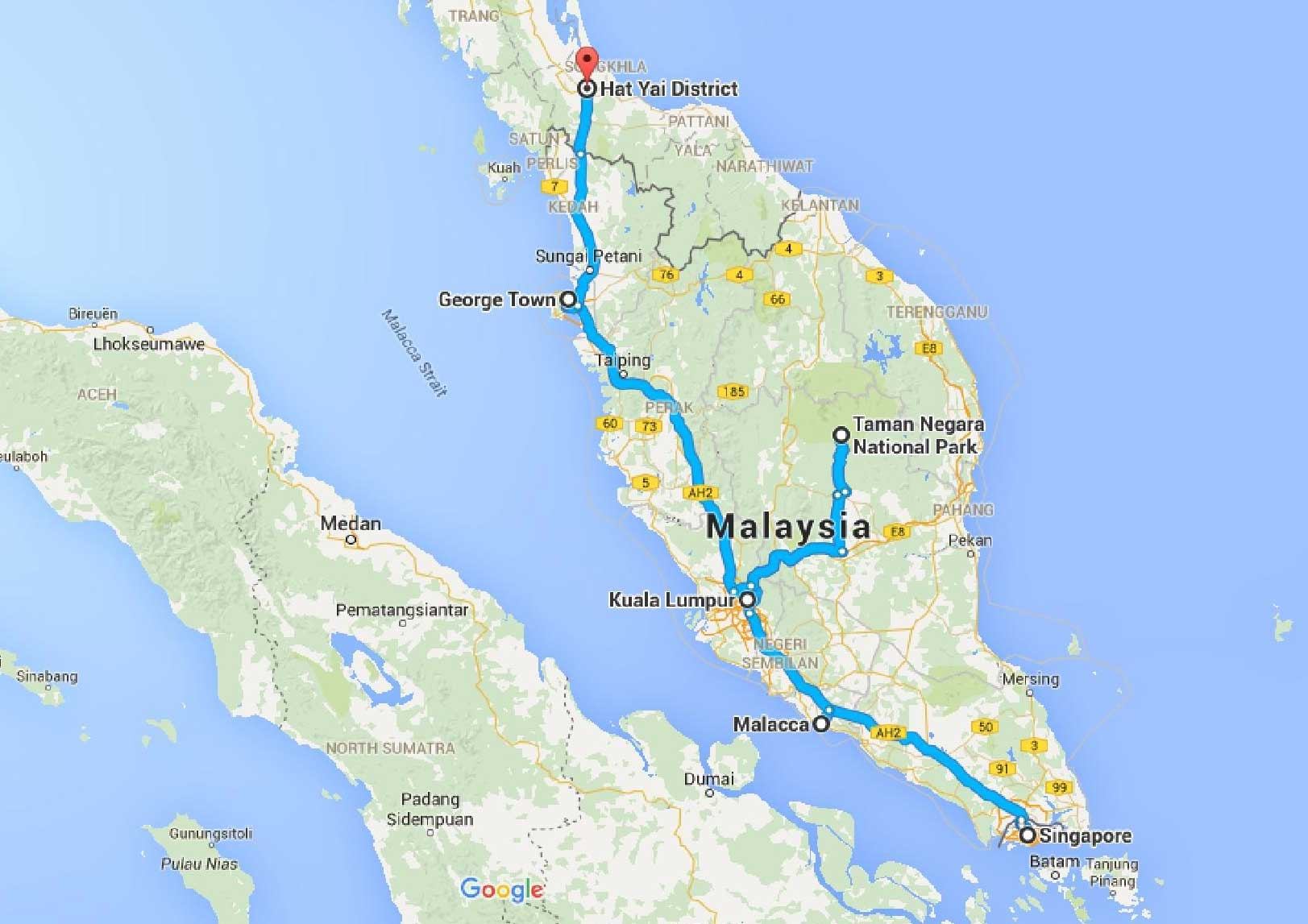 Borneo. Singapore. Malaysia: maps, costs and itinerary