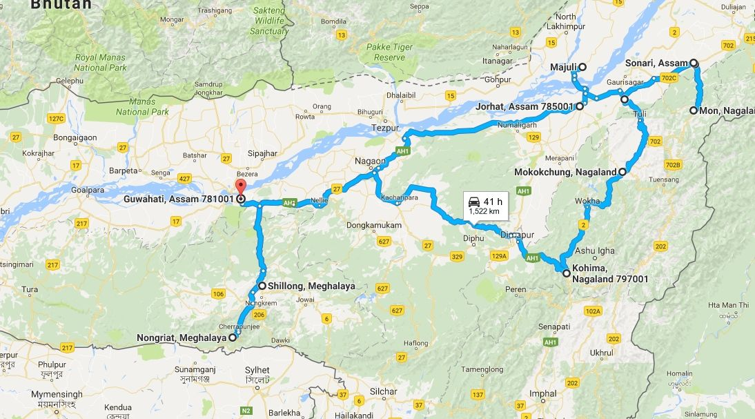 Indian Northeast States: maps, costs and itinerary