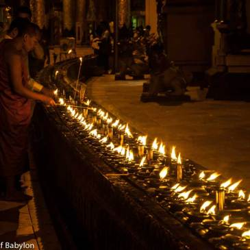 Shwedagon Pagoda… the gold and the moon