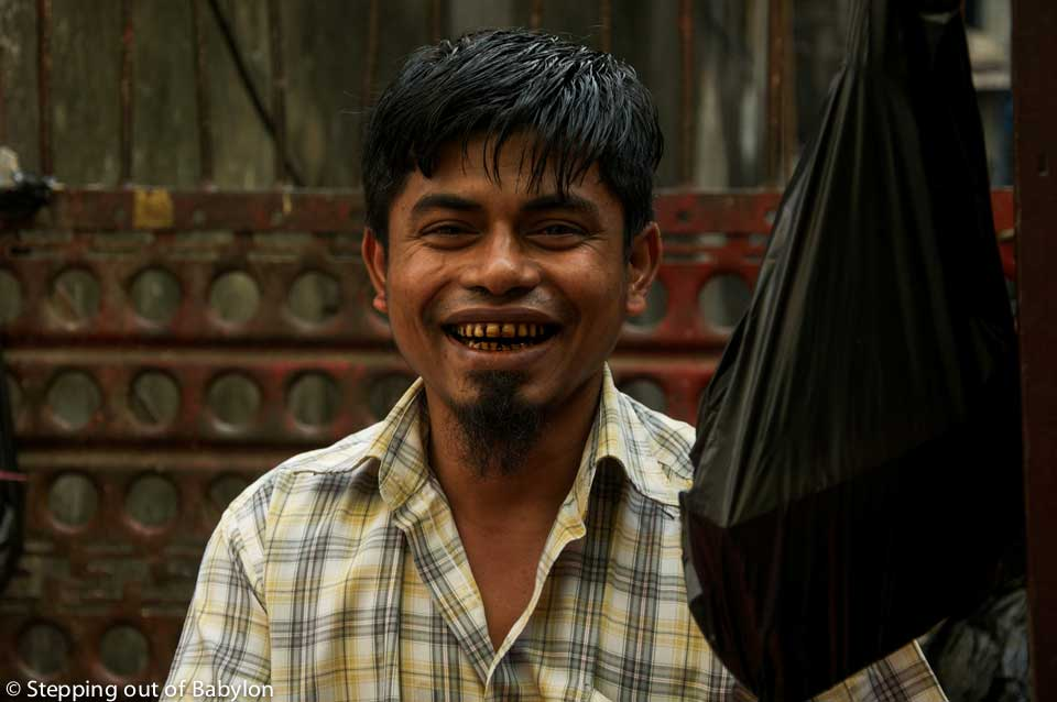 Yangon... where the smiles pop up easily from any faces revealing, most of the times, the teeth red dyed by the areca nut and the betel leaf, as chewing paan is a national addiction