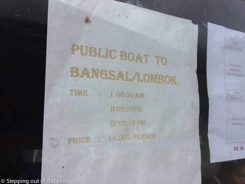 Schedule and prices from the boat from Gili Meno to Bangsal