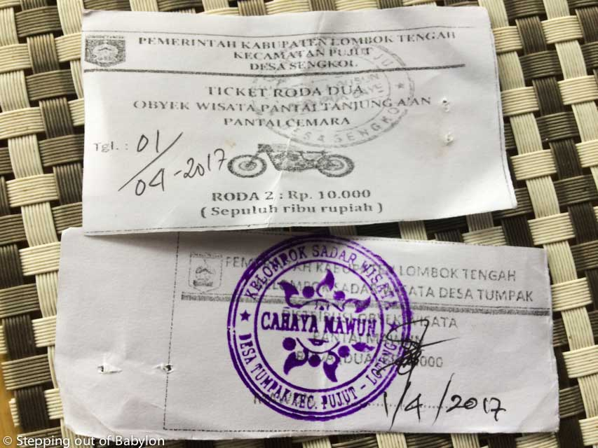 ticket to park at Seger, Tanjung Aan and Mawun beaches. Kuta, Lombok