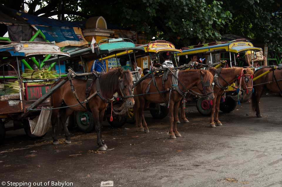 "Hose cart, locally called ""cidomo"" are still a common way to move around the city, specially for shot distances, and that are easy to find nearby the markets area. Mataram, Lombok"