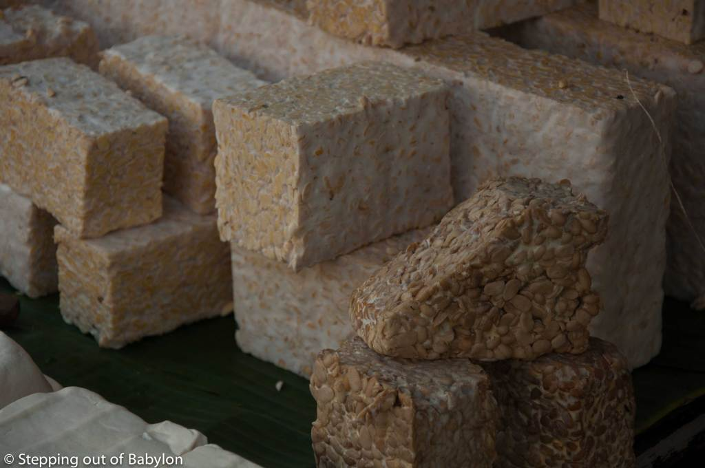 At the Pasar Besar you can find the ingredients that make the Indonesian food so tasty. The tempeh, sold in pack or in big blocks is a constant presence in the Indonesia gastronomy
