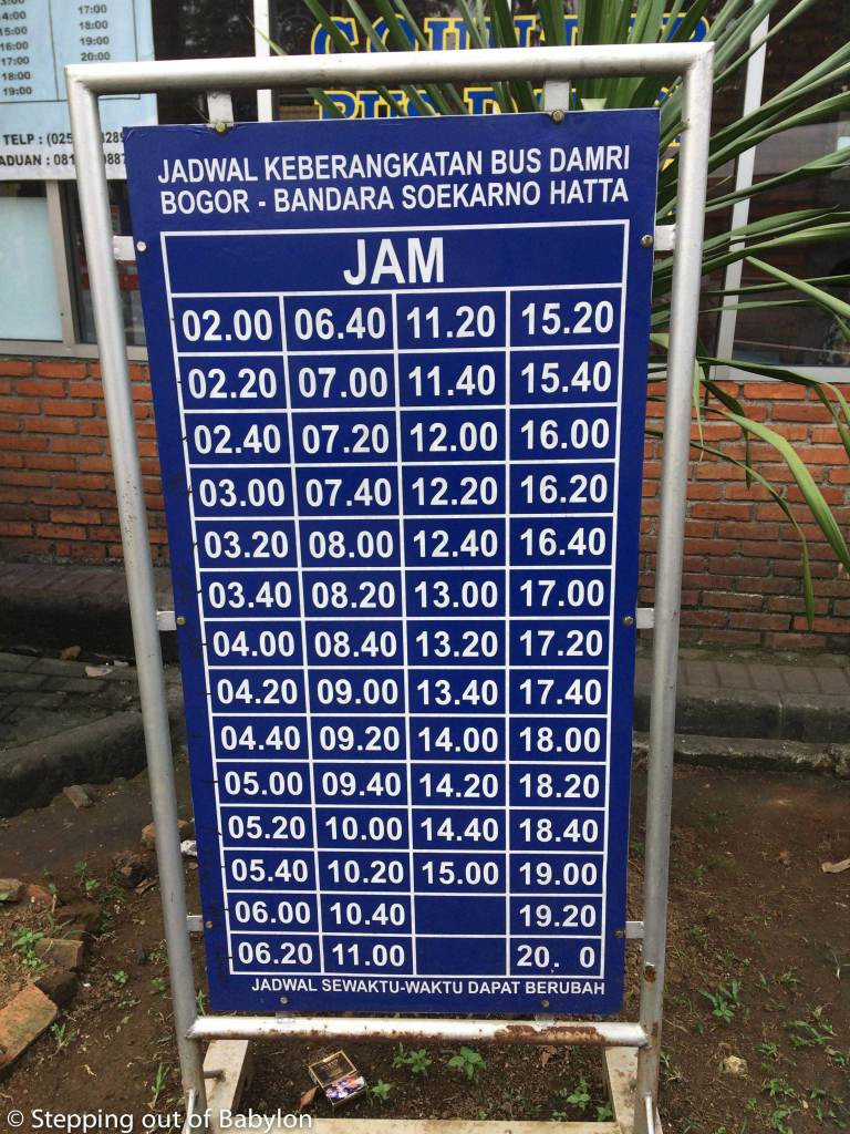 How to go from Bogor to Jakarta Airport. Schedule.