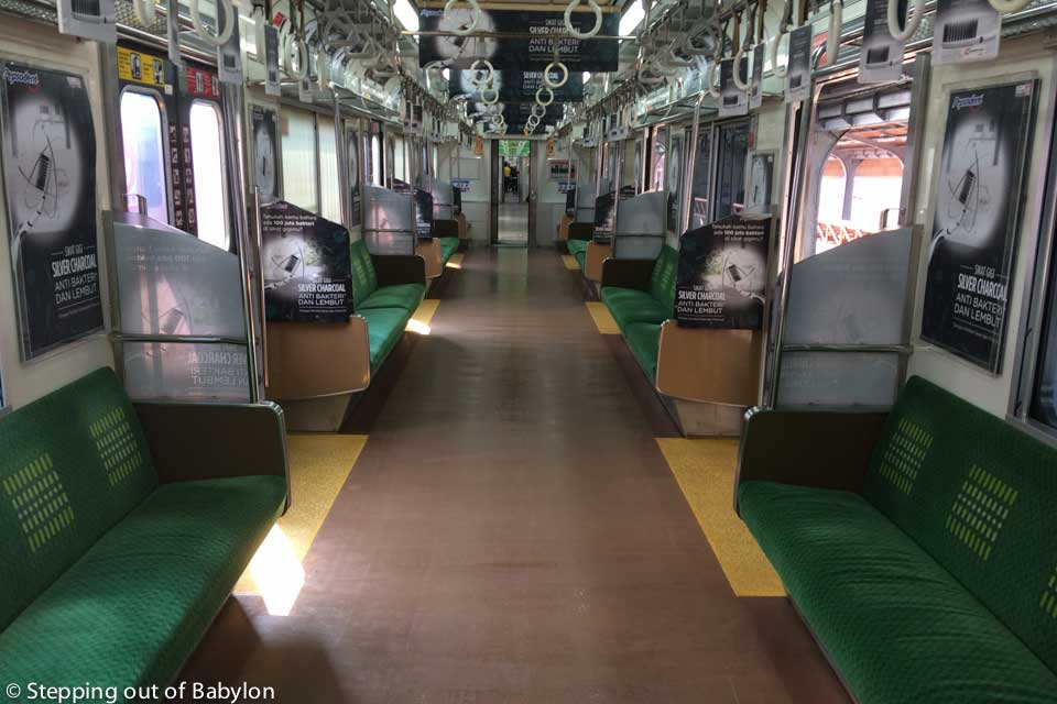 The train is a easy and cheap way to move around Jakarta, a megacity without subway. Line Jakartakota-Manggarai