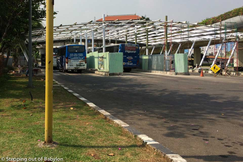 Bus stop at Jakarta internationa airport