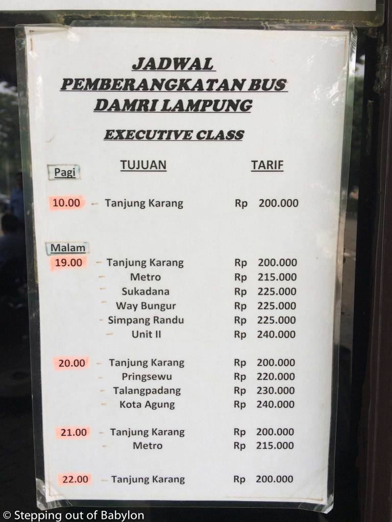 DAMRI buses from Jakarta to Sumatra. Prices and schedule. Executive class