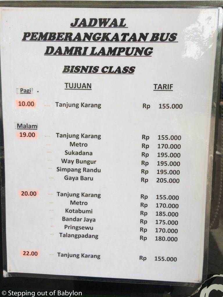 DAMRI buses from Jakarta to Sumatra. Prices and schedule. Bussines class