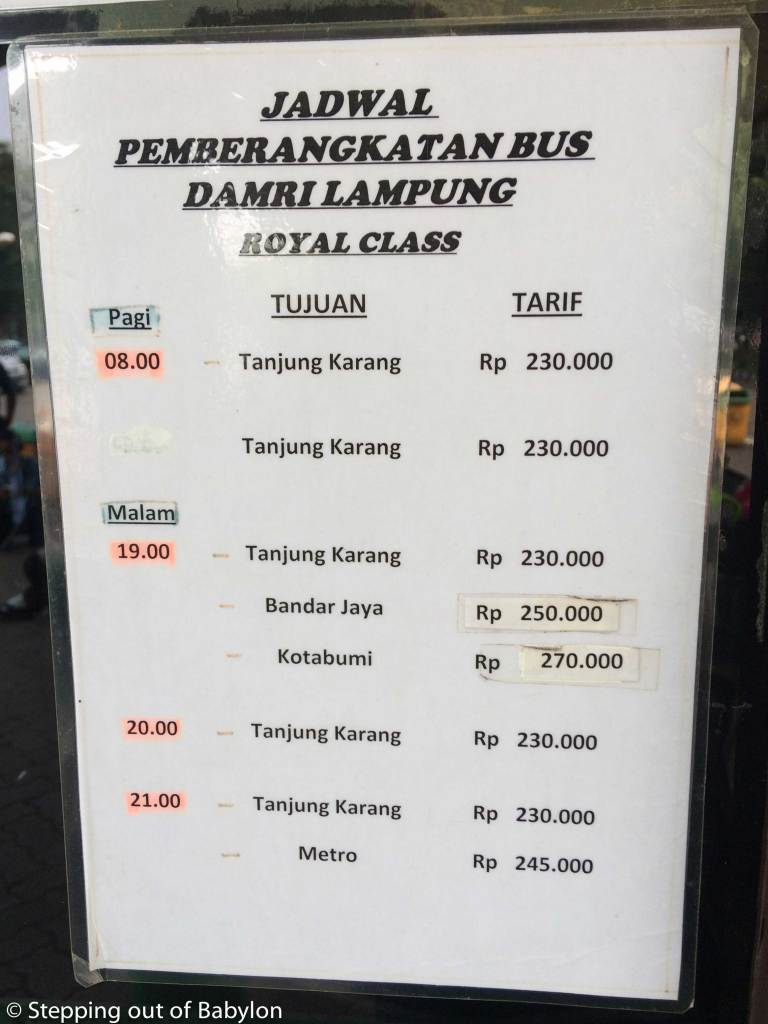 DAMRI buses from Jakarta to Sumatra. Prices and schedule. Royal class