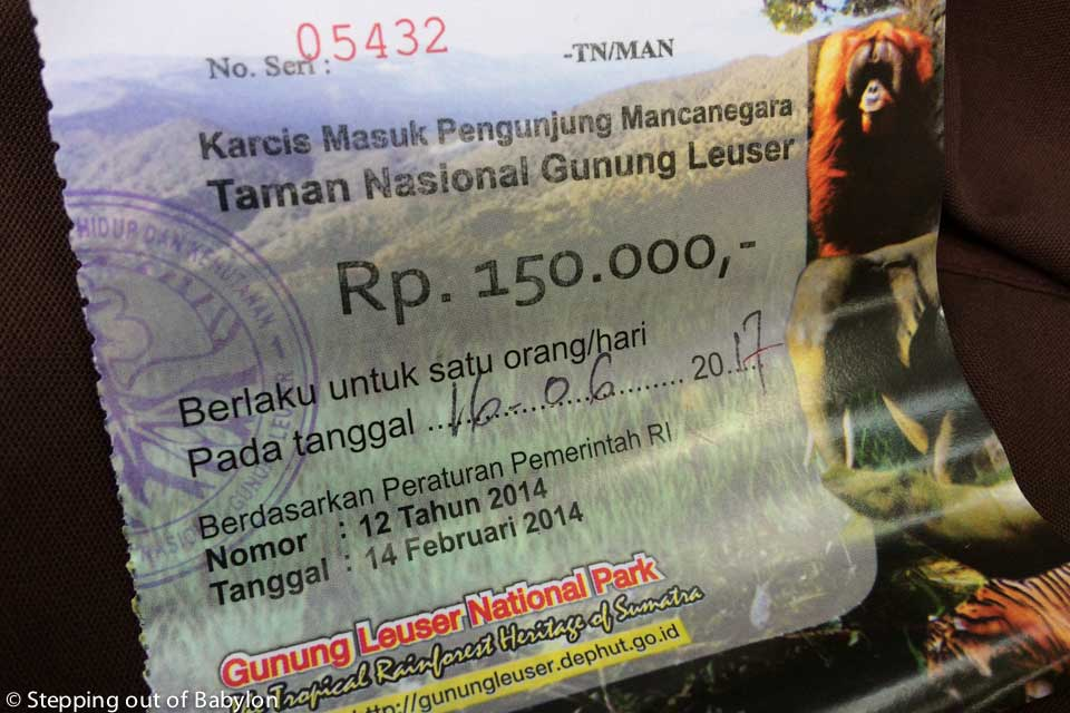 Ticket for the Leuser National Park . Bukit Lawang