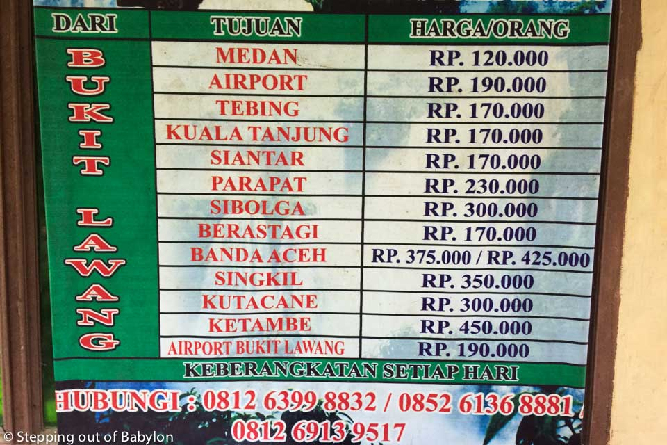 Prices of the travel service from Bukit Lawang to different destinations in Sumatra. The car to Medan and to Medan airport departure at 8 a.m.