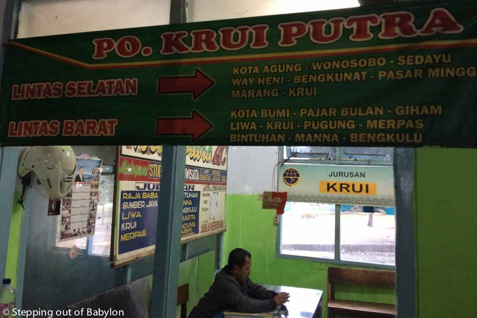 PO. Krui Putra office where you can get the tickets for the bus to Krui
