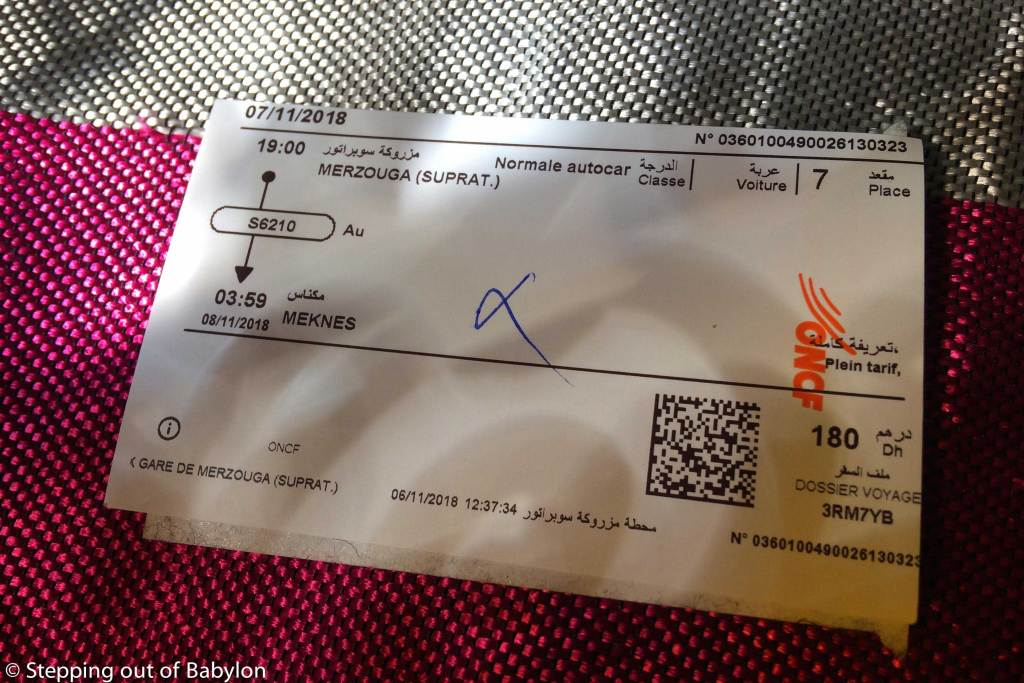 Bus ticket from Merzouga to Meknes