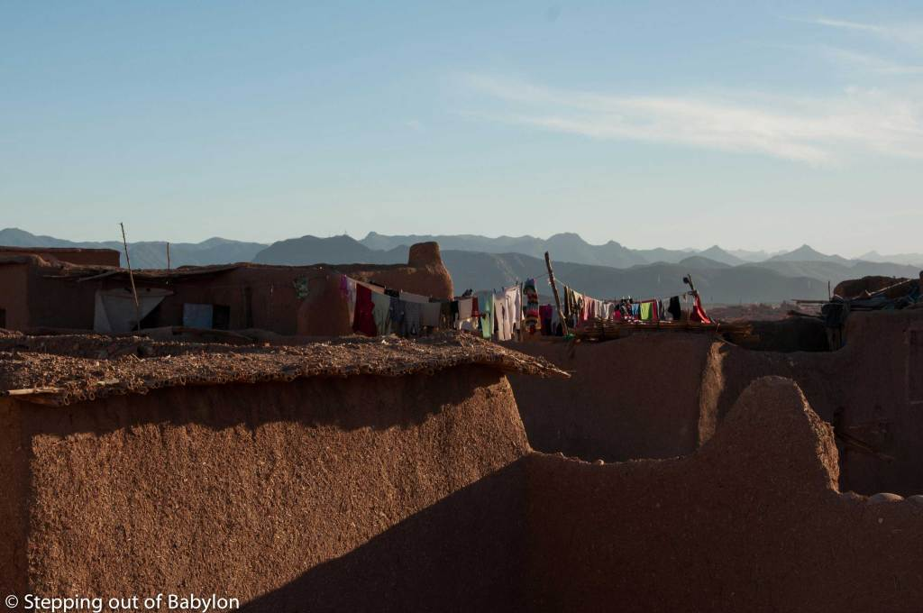 The traditional rooftop from where the view of the Atlas mountains is always present