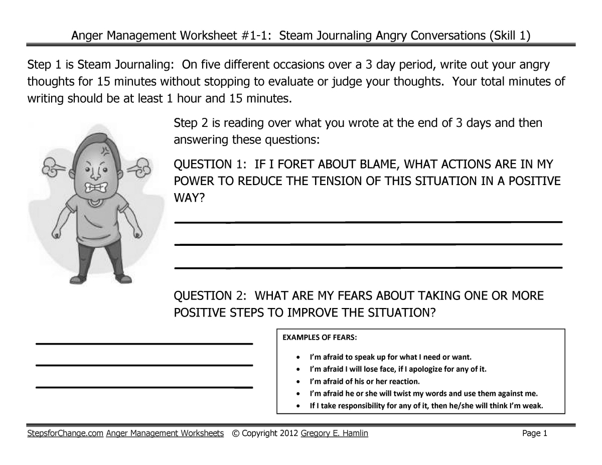 Skill 1 Anger Management Techniques And Worksheets Steam