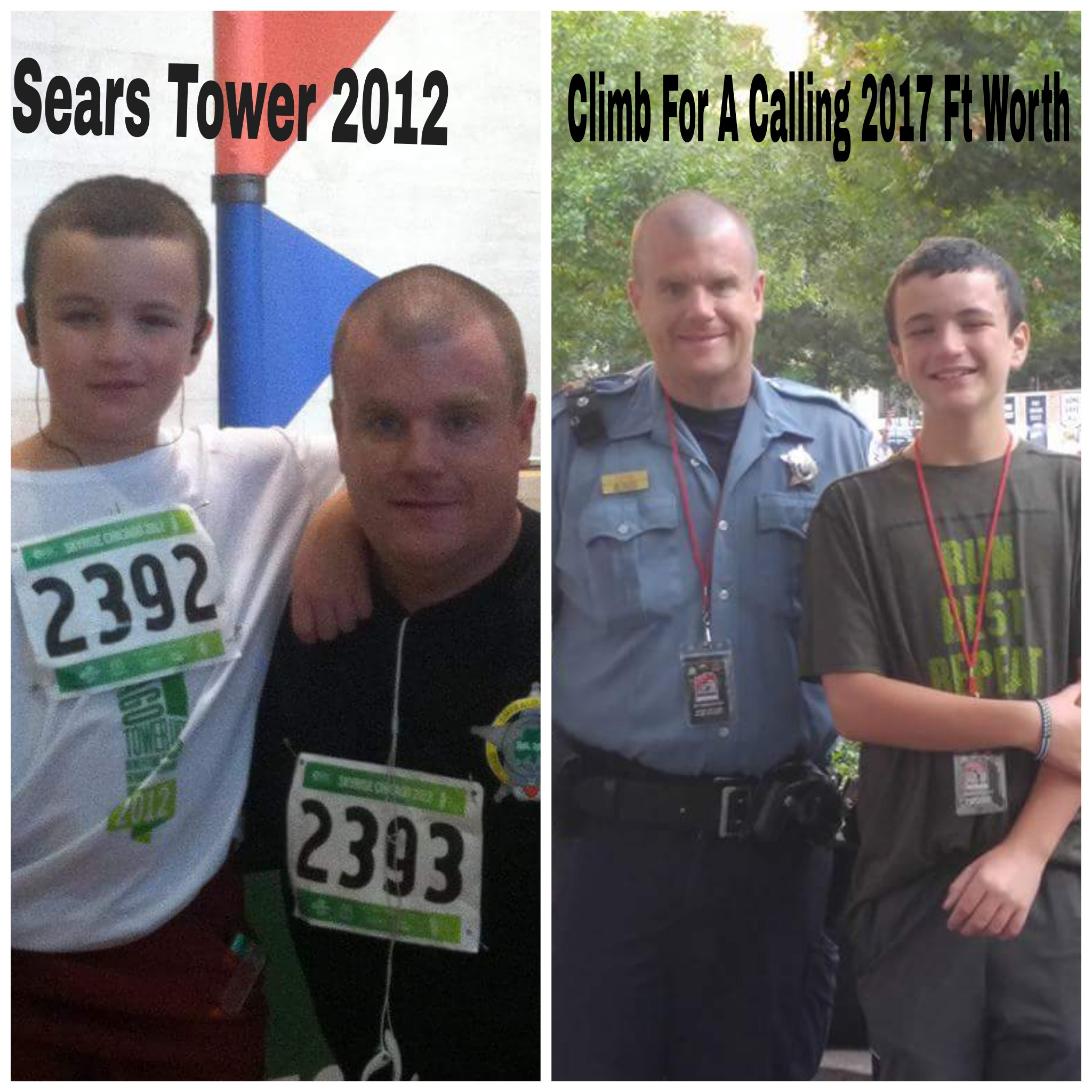 two images of Steve and son before climbing