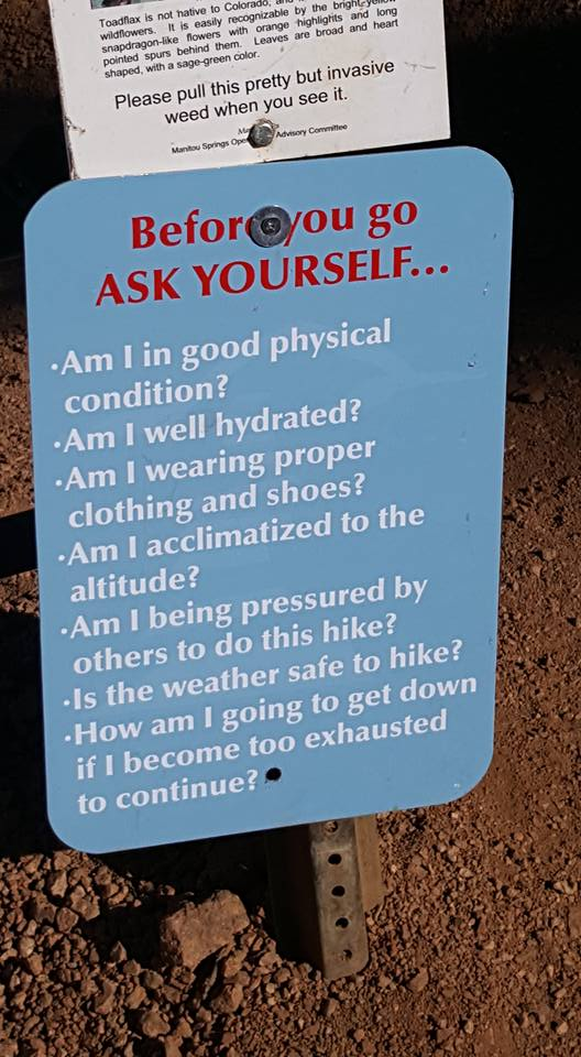 """image of warning sign (""""am I welll hydrated?"""" etc) at Manitou Inline Colorado June2018"""