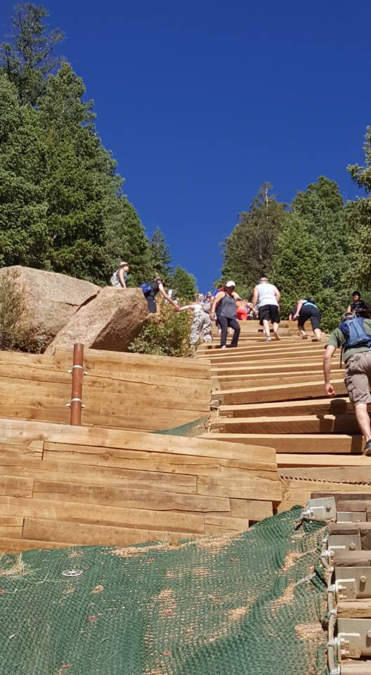 image of very steep mountain steps at Manitou Inline Colorado June2018