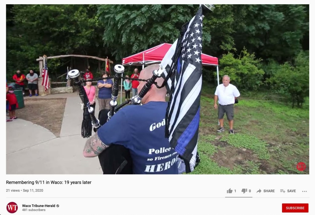 Steve Coyle on bagpipes at the Waco Texas 9/11 memoriam 20 years later